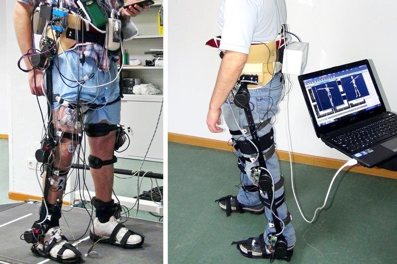 Exoesqueleto montado sobre piernas